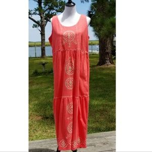 J.Jill coral embroidered tiered maxi dress